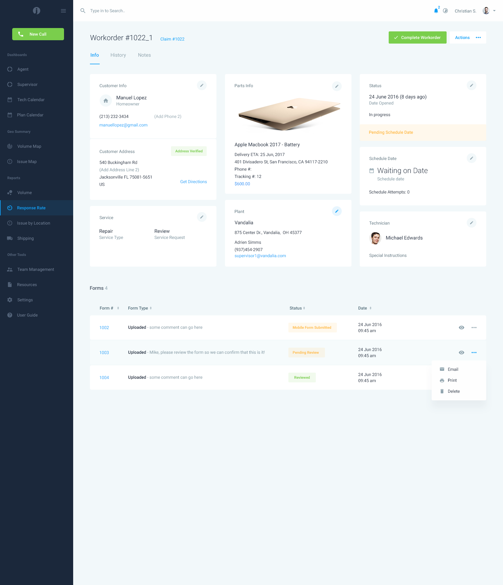 InsightPro - Workorder | Dashboard Page Designs | Pinterest ...