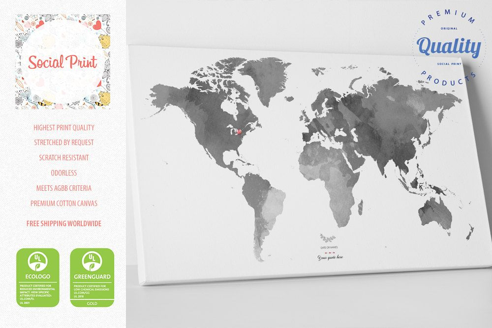 Grey World Map Canvas Print With Your City Tag Names Dates Quotes - Grey world map poster