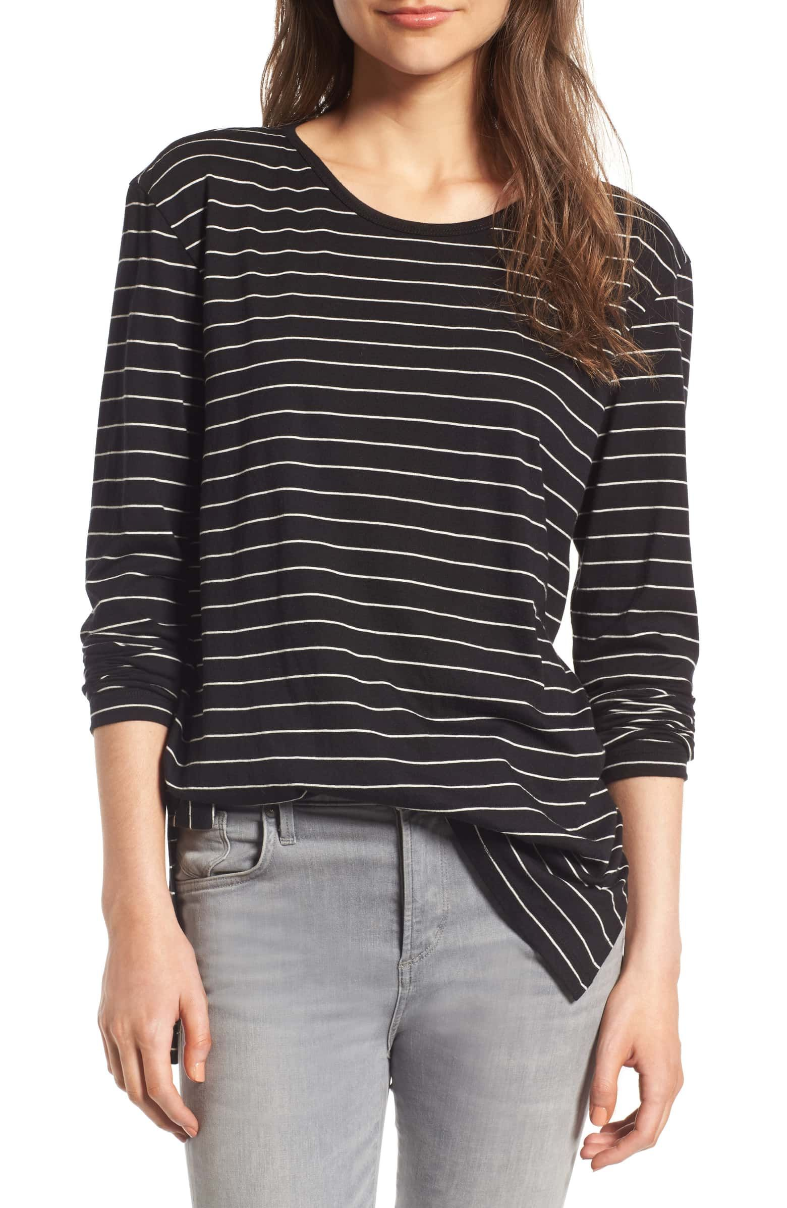Bp Side Slit Tee Black Joannie Stripe Available At Nordstrom Affiliate Fashion Family Picture Outfits Clothes