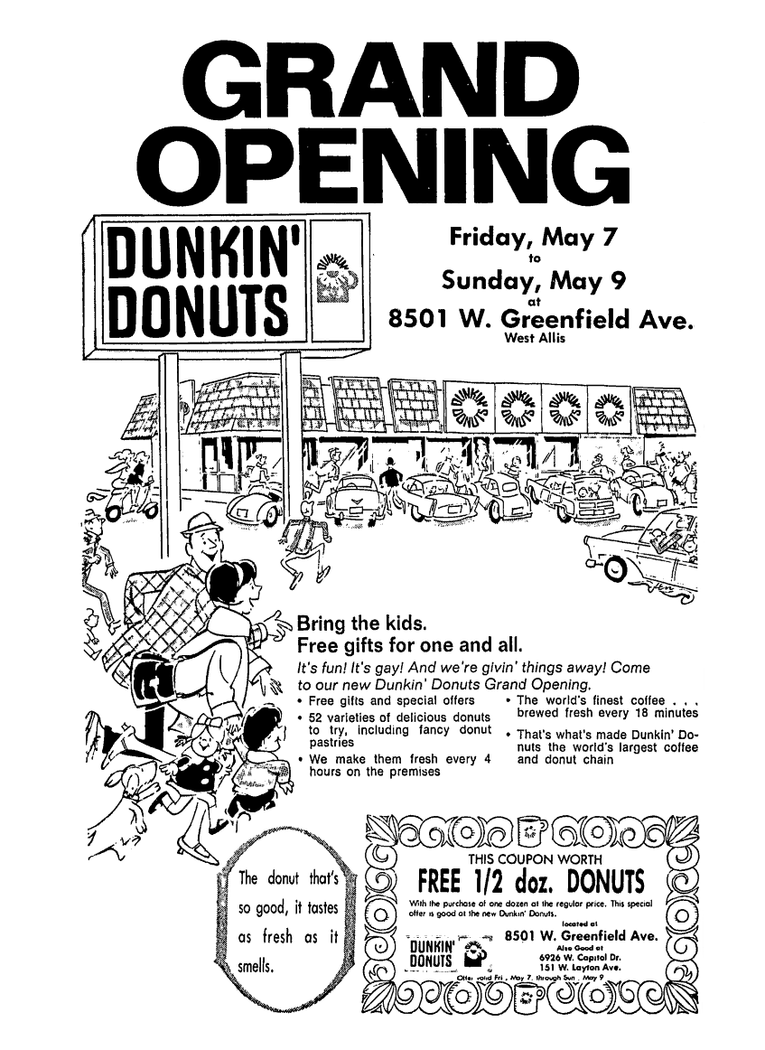 Dunkin\' Donuts Grand Opening - May 1971 | 1970\'s & 1980\'s Newspaper ...