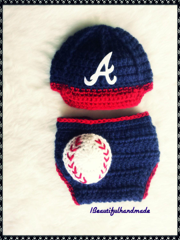 b7729129 Baby Boy , Atlanta Braves inspired Crocheted Baseball hat, Diaper ...