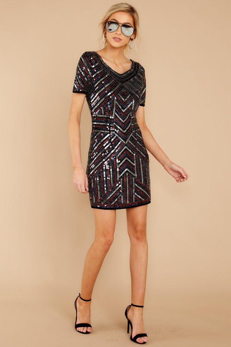 4a7256674d3 Flirty Black Multi Sequin Dress - Sparkly Art Deco Dress - Dress -  56 – Red  Dress Boutique