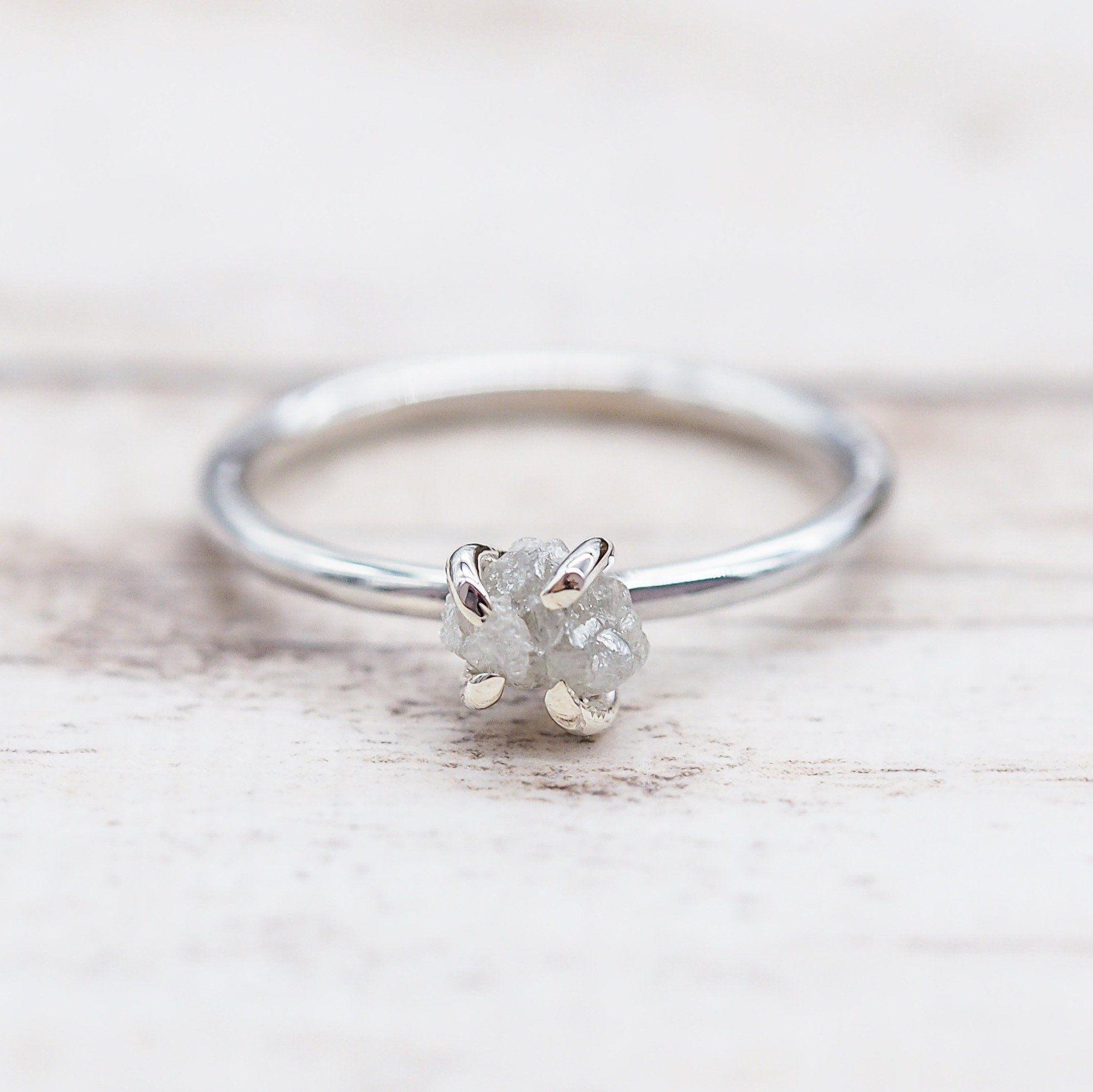 Raw White Diamond Ring 18th Pinterest