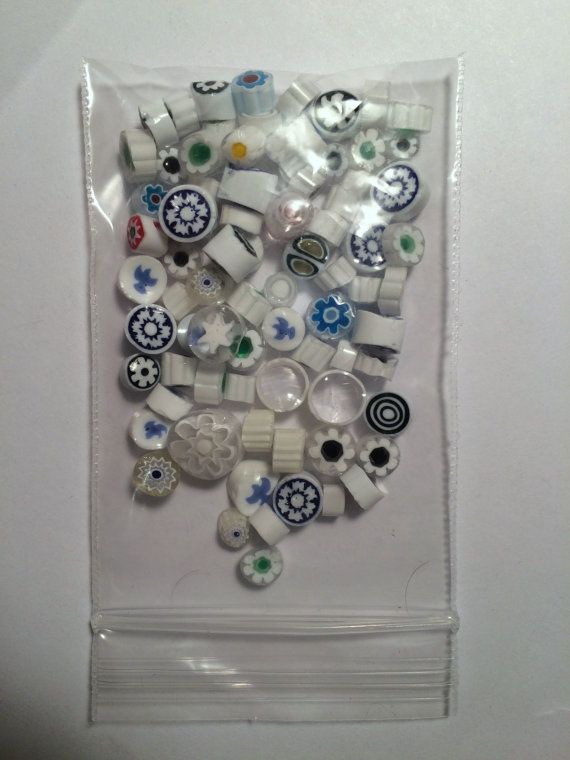 White Millefiori Glass Slices ~ Doves, Flowers and More ~ 1 oz Bag
