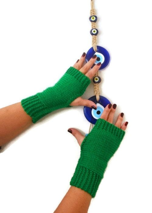 FINGERLESS Green Fingerless Gloves, Wool Mittens, Arm Warmers , Hand Knitted, Eco Friendly , Winter Accessories 15% Discount Pinterest Special: PINSN15