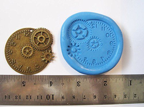 Steampunk-Clock-Flexible-Food-Grade-FDA-Regulation-Silicone-Push-Mold-for-Polymer-Clay-Resinwaxminiature-Foodsweetsplaster-0