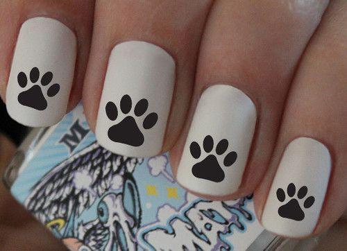 Nail Wraps Nail Art Dog Paw Print Water Transfers Decal Natural