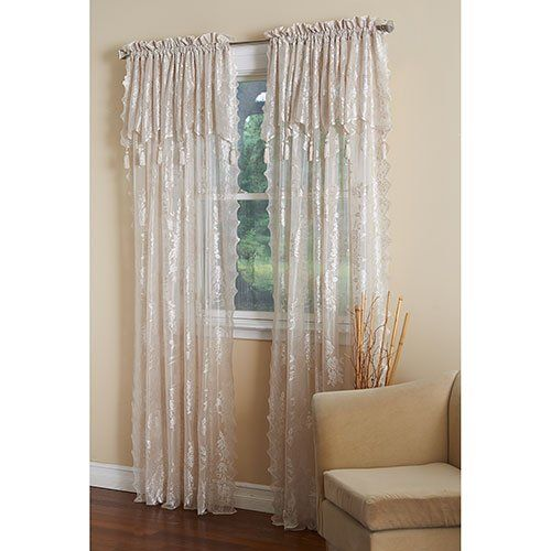 Carol Lace Curtain Panel With Attached Valance Tassels By