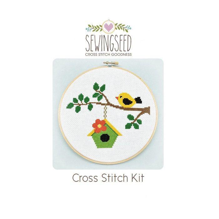 Pájaro en una rama cruz puntada Kit Kit de bricolaje Kit de | Punto ...