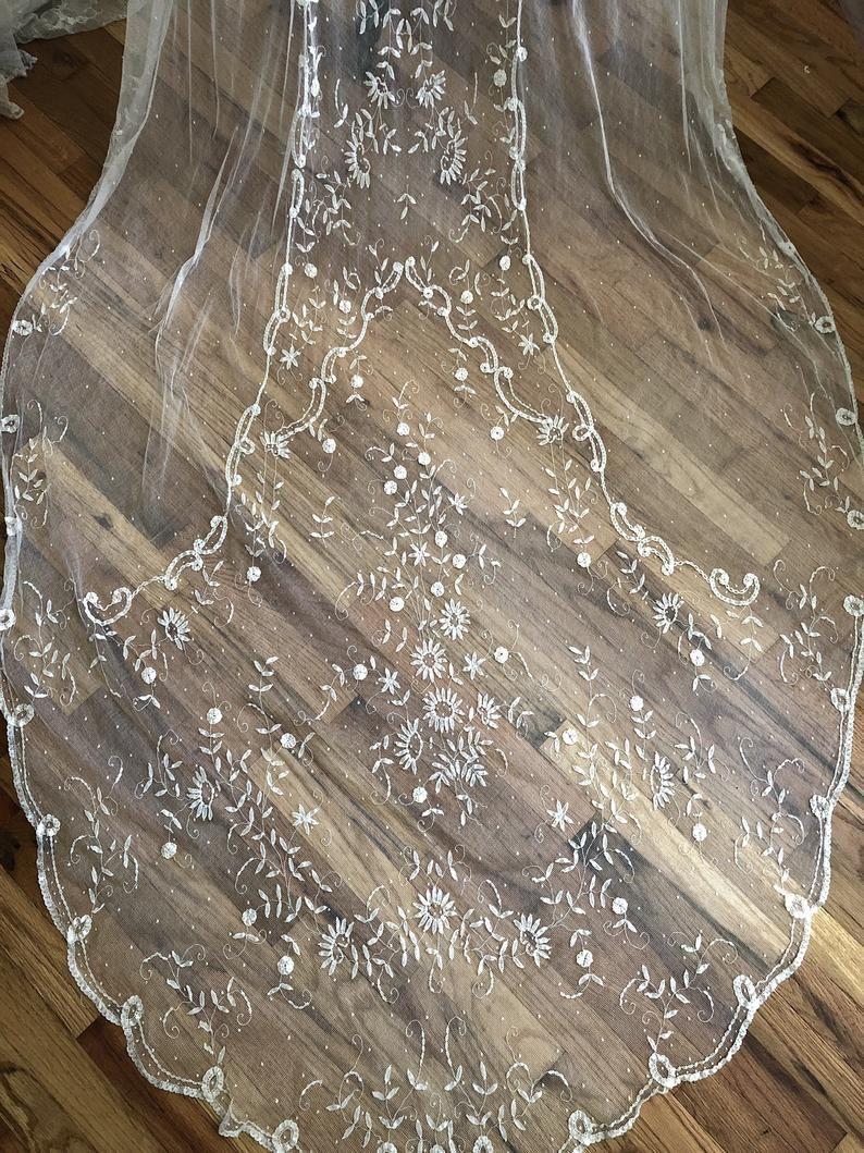 Exquisite Antique Brussels Lace Wedding Veil / Silk Net Lace | Etsy