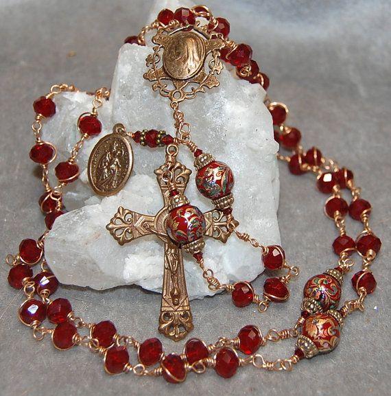 Red Rosary Swarovski Crystal And Bronze By Heartfeltrosaries 211 00 Edwardian