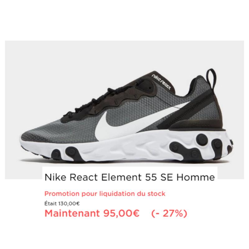 PROMO -27% Nike React 55 HOMME   Baskets nike, Nike