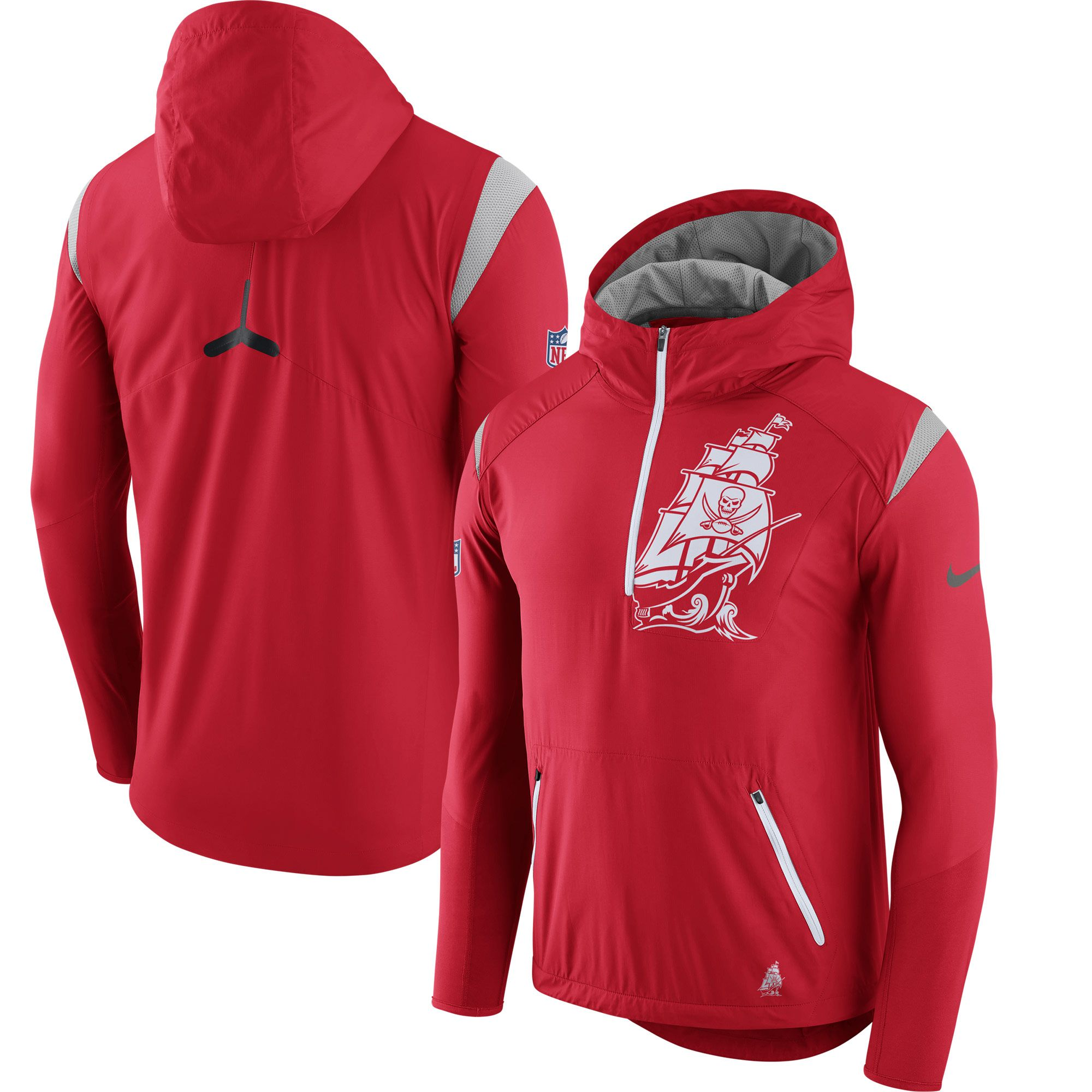 05df10e95 Nike Tampa Bay Buccaneers Red Sideline Fly Rush Half-Zip Pullover Jacket