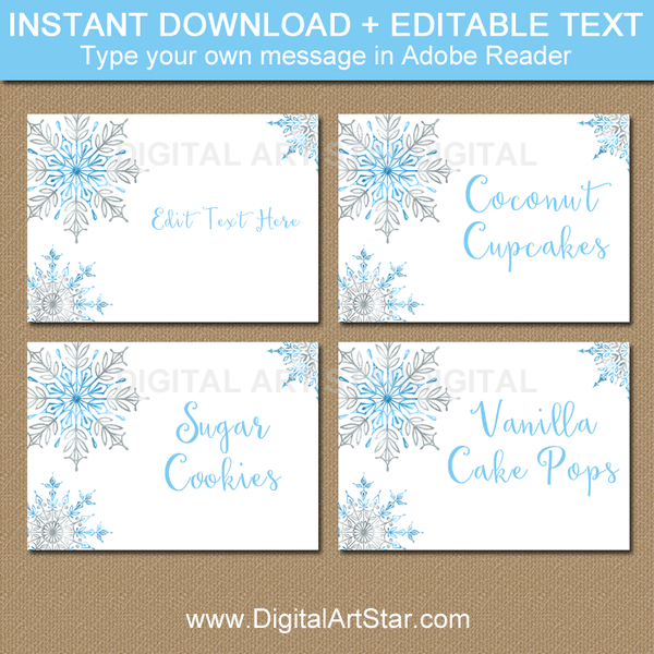 Snowflake Food Labels Snowflake Name Labels Snowflake Place Cards Party Food Labels Snowflake Party Party Food Themes