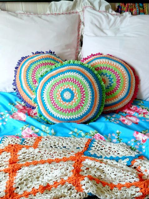 crochet boho pillows