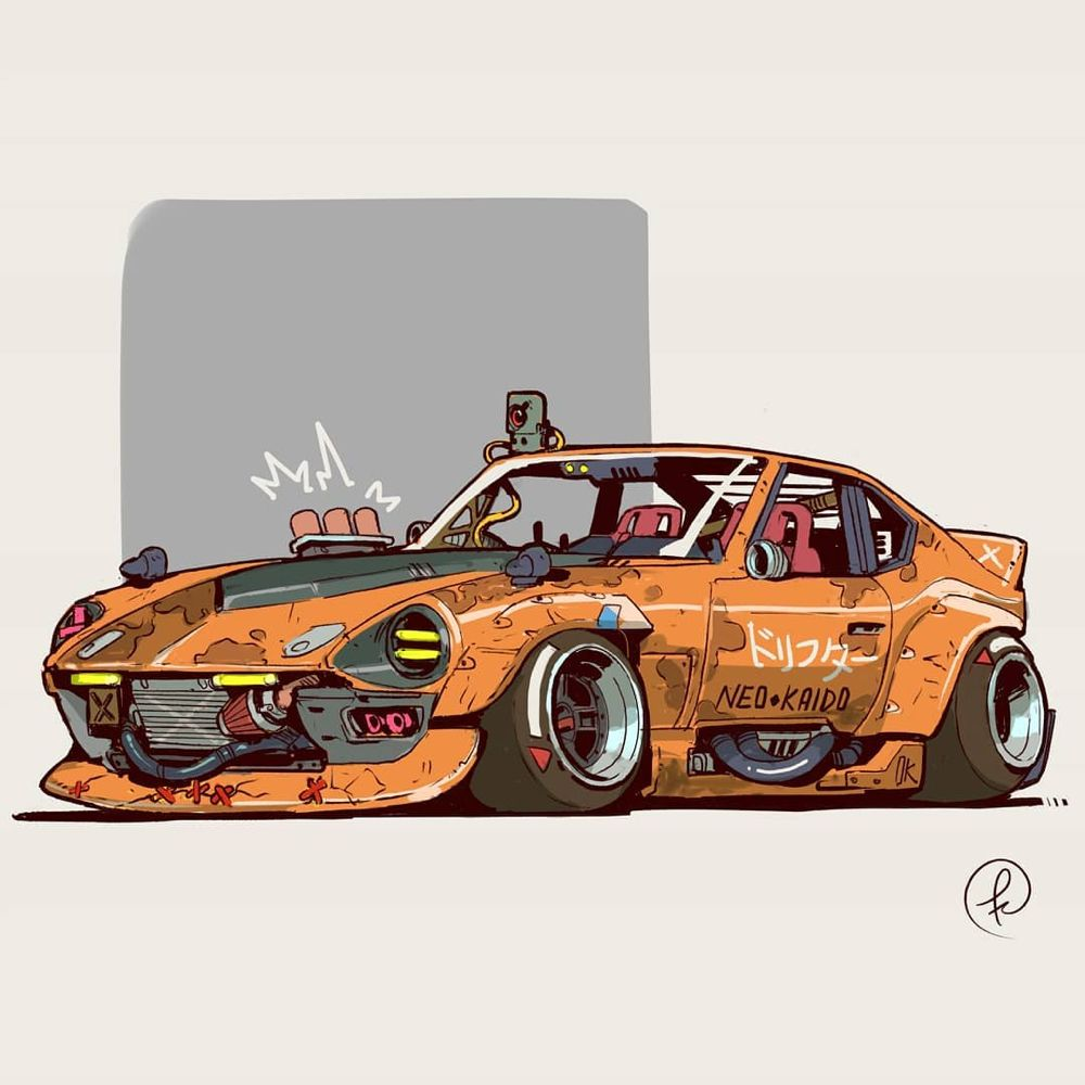 "Fernando Correa on Instagram: ""DRIFTER  #cyberpunk #cars #automotive #datsun #retro #drift #japan #tuning #yokohama #240z #conceptart #illustration #digitalart #neonoir…"""