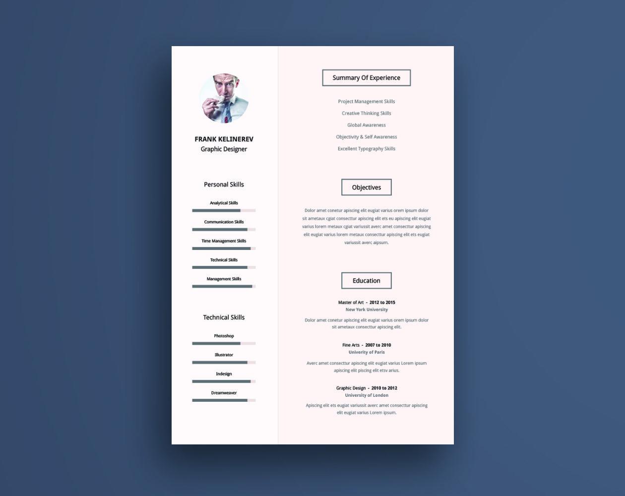 Resume Template Design => More At Designresources.io