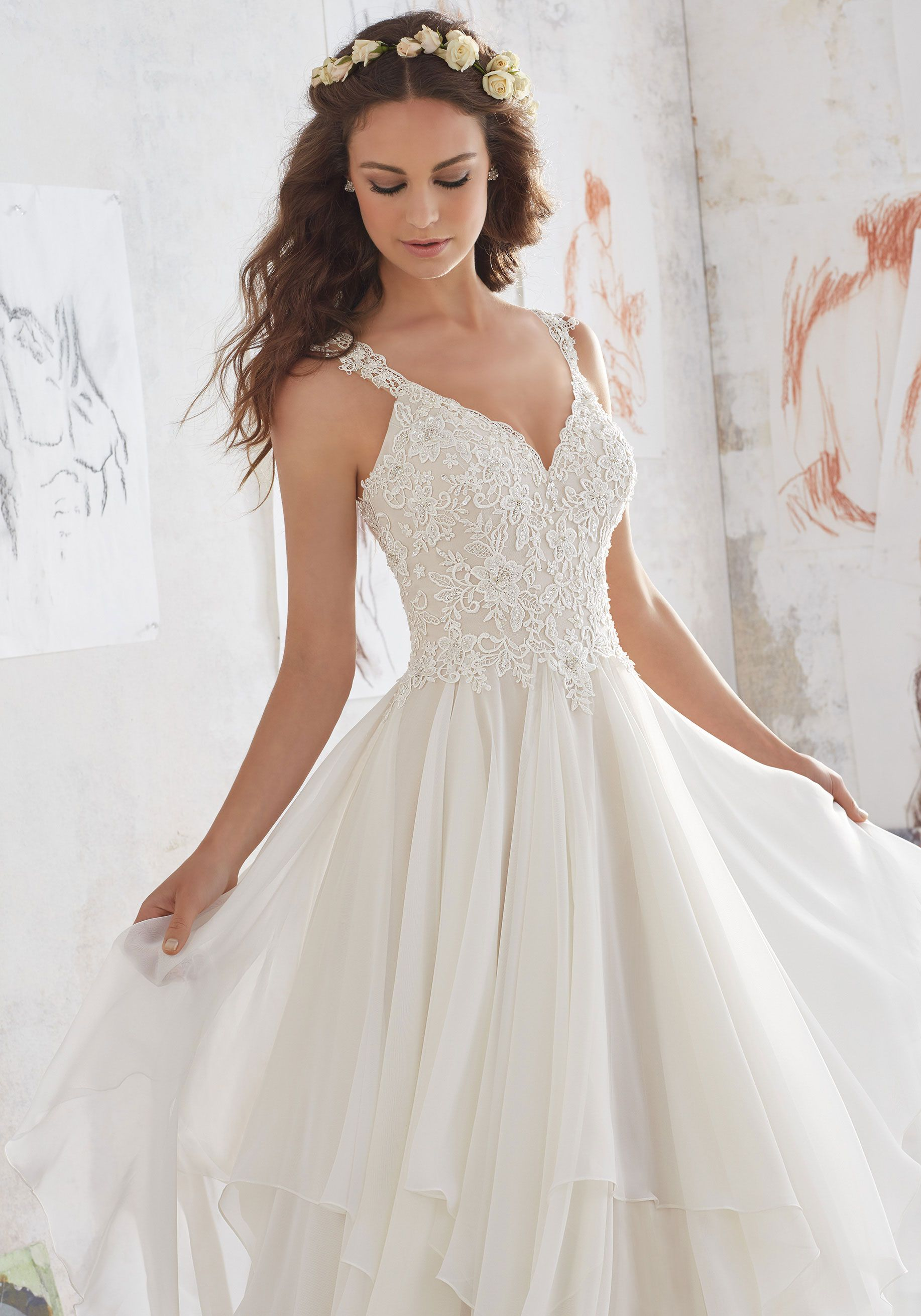 24ab1c2d449a This Boho Lace Wedding Gown Beautifully Combines Romantic Layers of  Flounced Chiffon and a Fitted Bodice