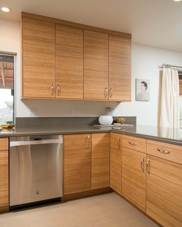 Contemporary Kitchen with Flat panel cabinets, Cabot Porcelain Tile
