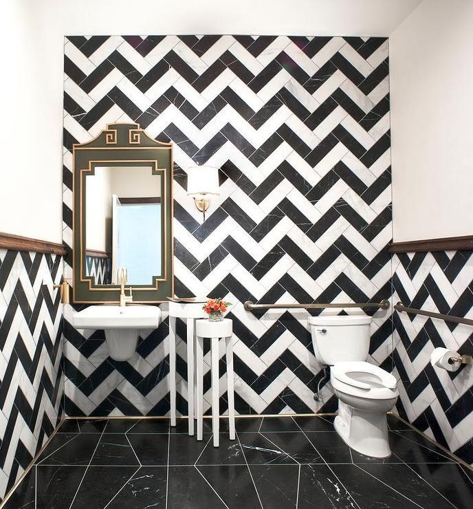 Powder Room With Black And White Chevron Tiles Contemporary Bathroom Bathroom Decor White Wall Tiles Chevron Tile