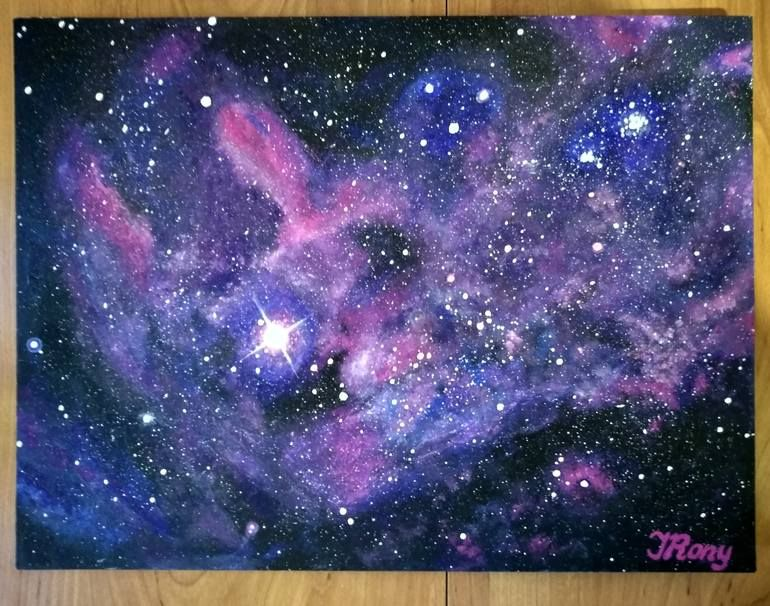Painting Space Canvas On Cardboard 30 40 Acrylic Painting Galaxy Painting Galaxy Wallpaper Galaxy Background