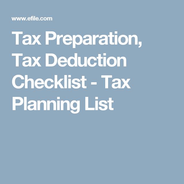 Tax Preparation, Tax Deduction Checklist