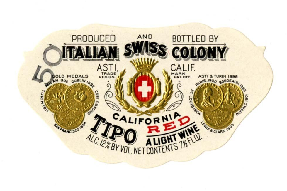 Wine Label Italian Swiss Colony Tipo California Red  Logos