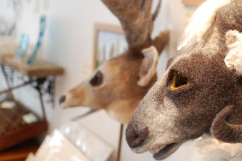 Felt animal headresses by Gladys Paulus at OWL gallery in Frome