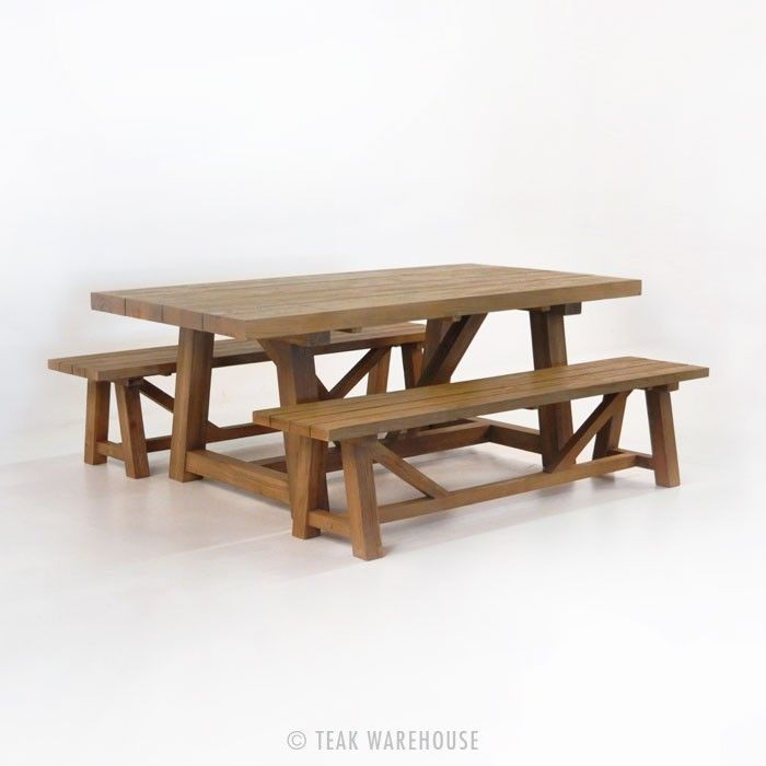Outdoor Dining Set  Reclaimed Teak Trestle Dining Table And 2 Interesting Teak Dining Room Furniture Decorating Design