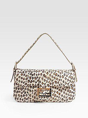 92a78ae1a Fendi Leopard-Print Watersnake Baguette Shoudler Bag   Bags   Fendi ...