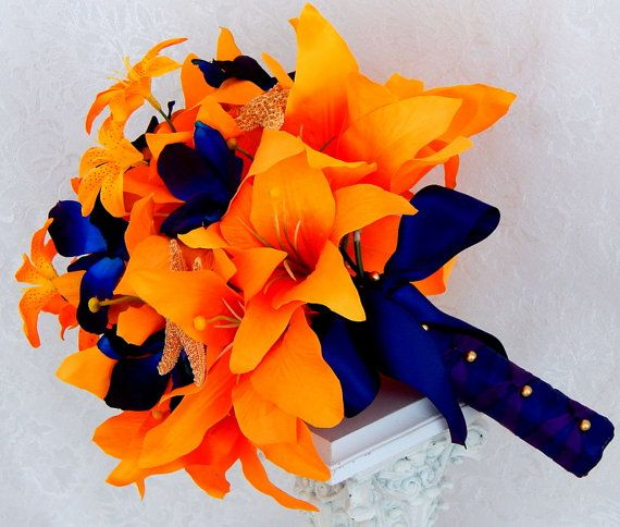 Tiger Lily Wedding Bouquet Silk Bridal Bouquet Starfish Design by ...