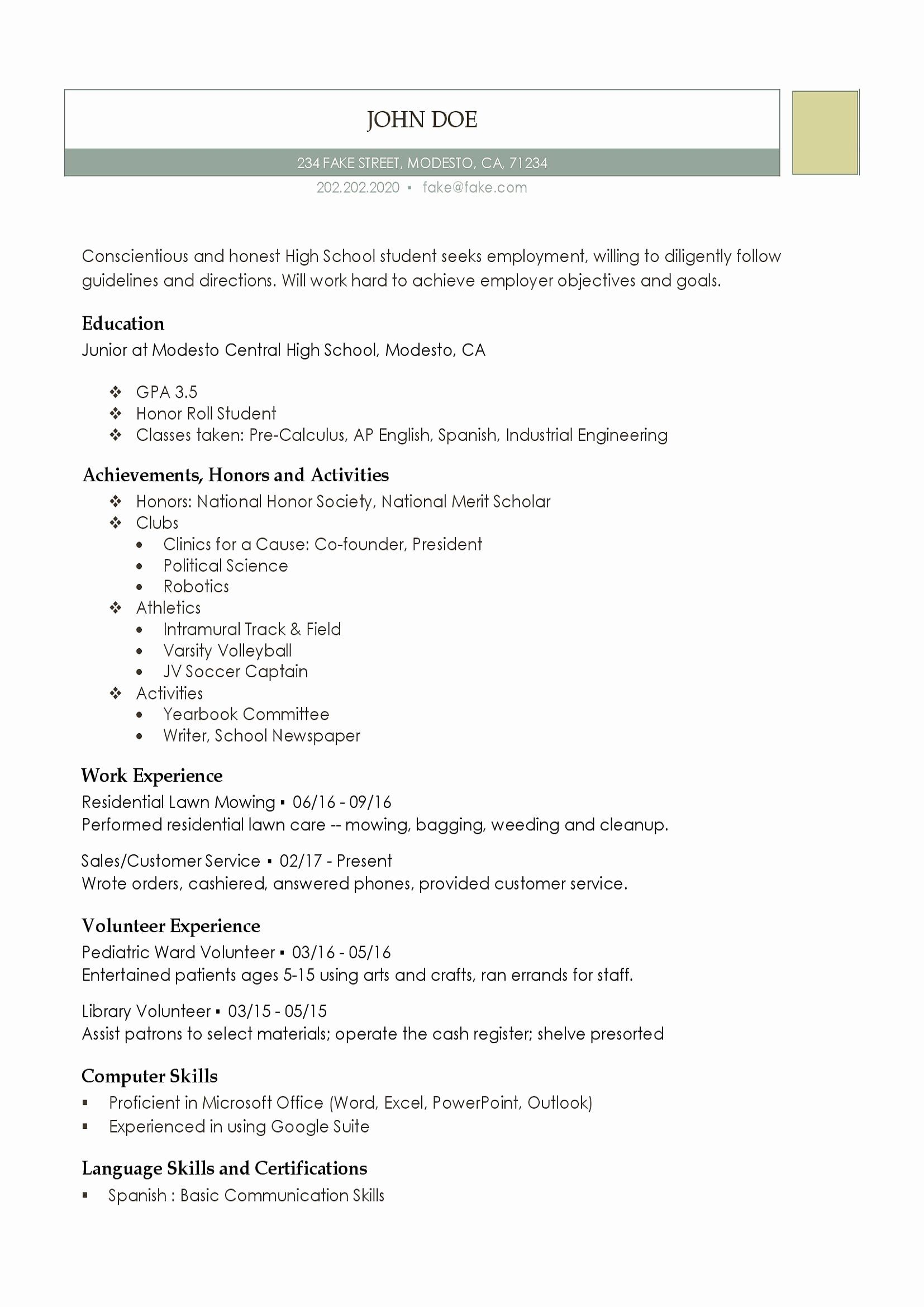 Resume High School Student Beautiful High School Resume