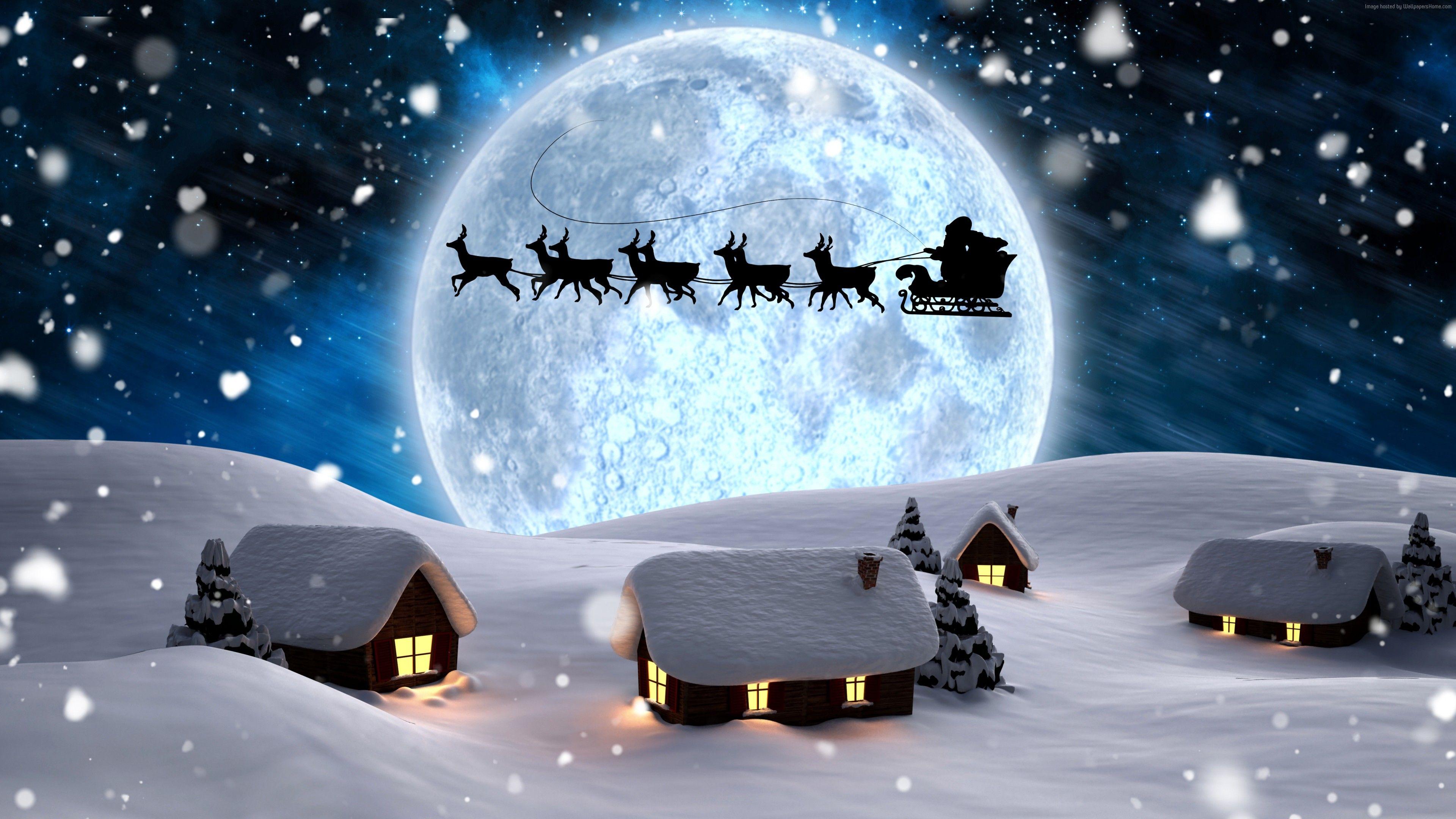 Wallpaper Christmas New Year Santa Deer Moon Night Winter