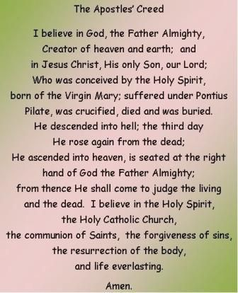 The Apostles Creed. Affirmed this every Sunday--- A wonderful ...