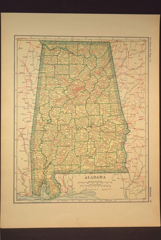 Alabama Map Alabama Railroad Antique Original 1920s Yellow | Map ...