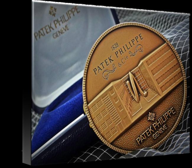 "Patek Philippe Geneve Commemorative Medal Coin $93 // Style: Black Edge Canvas Print; Size: Medium 16"" x 21"" // Visit http://www.imagekind.com/Patek-Philippe-Geneve-PPG_art?IMID=1f63993e-3b0d-4b44-8521-e4fef1f8974d for product details."