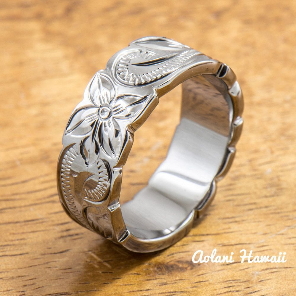 Black rhodium sterling silver ring hand engraved hawaiian designs