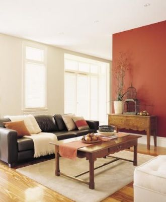 Orange Red and Off White Walls