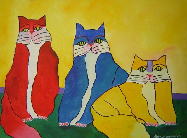 Family Of Cats Aldemir Martins Obras De Aldemir Martins