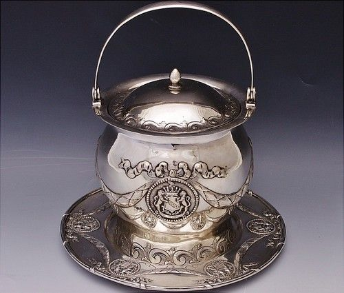 Amazing Antique Continental Solid Silver Armorial Biscuit