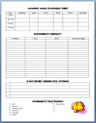 Exclusive Free Printables | Camping Meal Planner, Camping