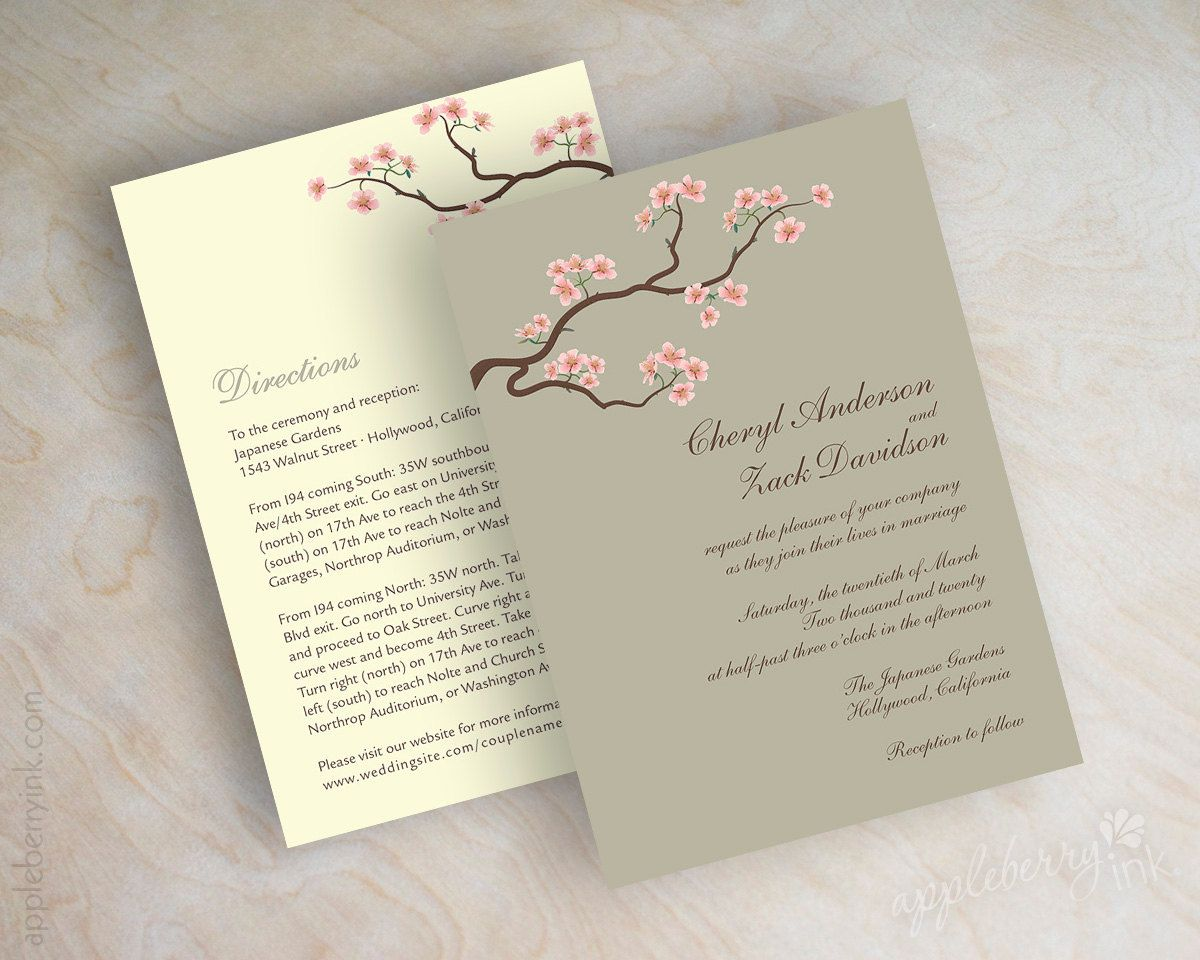 Wedding invitations cherry blossom tree branch by appleberryink ...