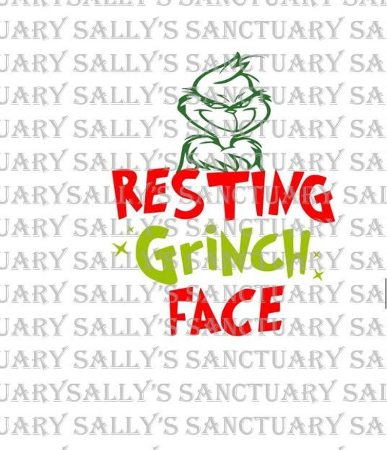 Resting Grinch Face Christmas SVG for Cricut/Silhouette