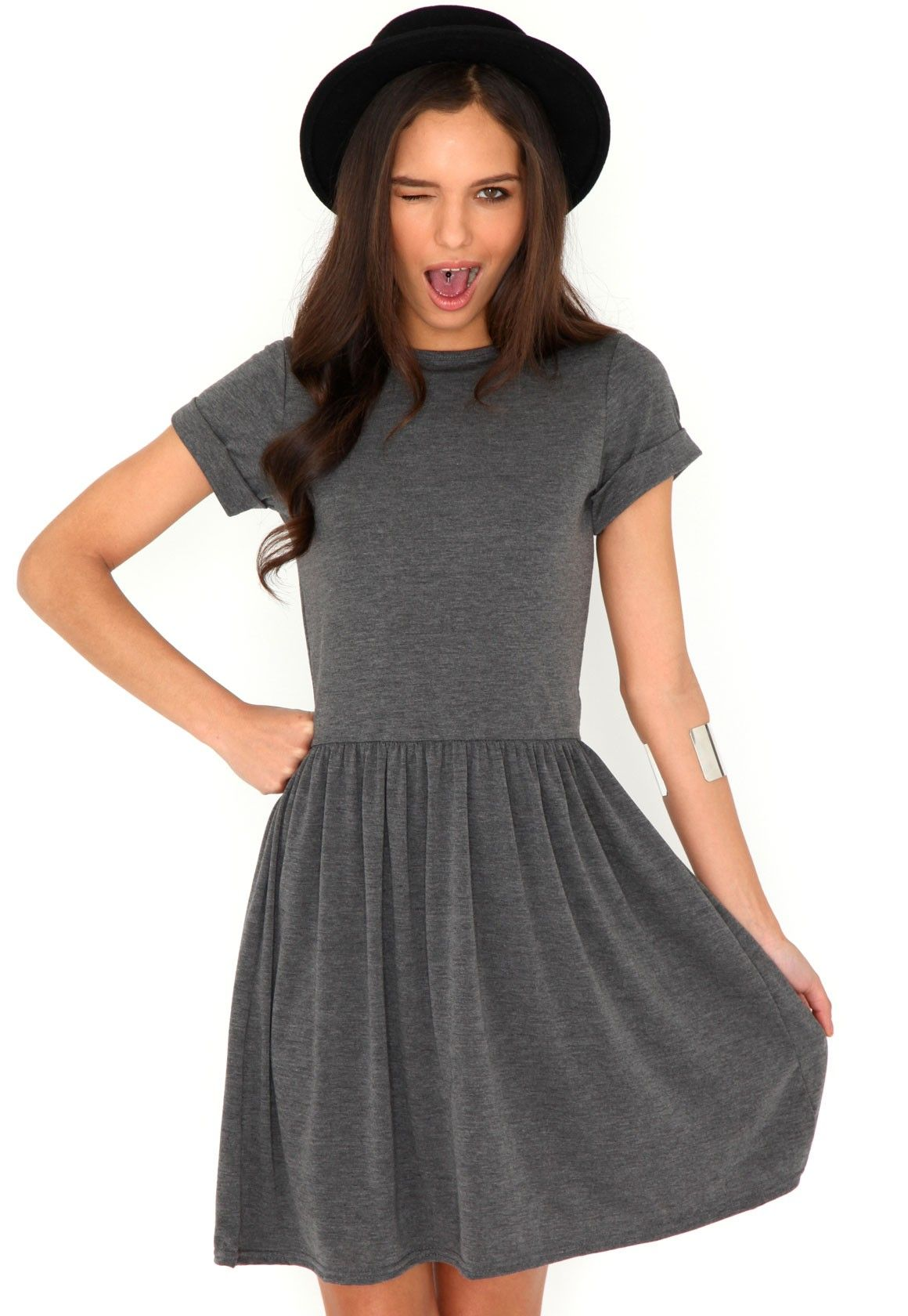 Aliveta T-Shirt Skater Dress In Grey I LOVE THIS! so casual but you could  smarten it up so easily b832ad1f515e