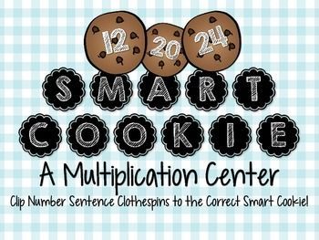 This fun math center is one that challenges students to think a variety of ways to access one product. Included are 6 cookie cards labeled with numbers that can be reached using a variety of number sentences.  Students will use clothespins labeled with number sentences to match the corresponding clips to the correct cookie card.
