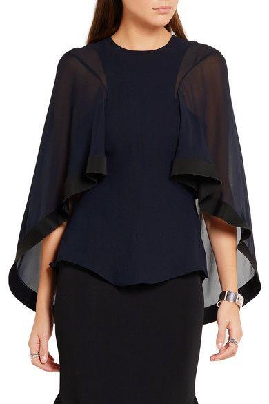Esteban Cortazar - Cape-effect cady-trimmed silk-chiffon blouse