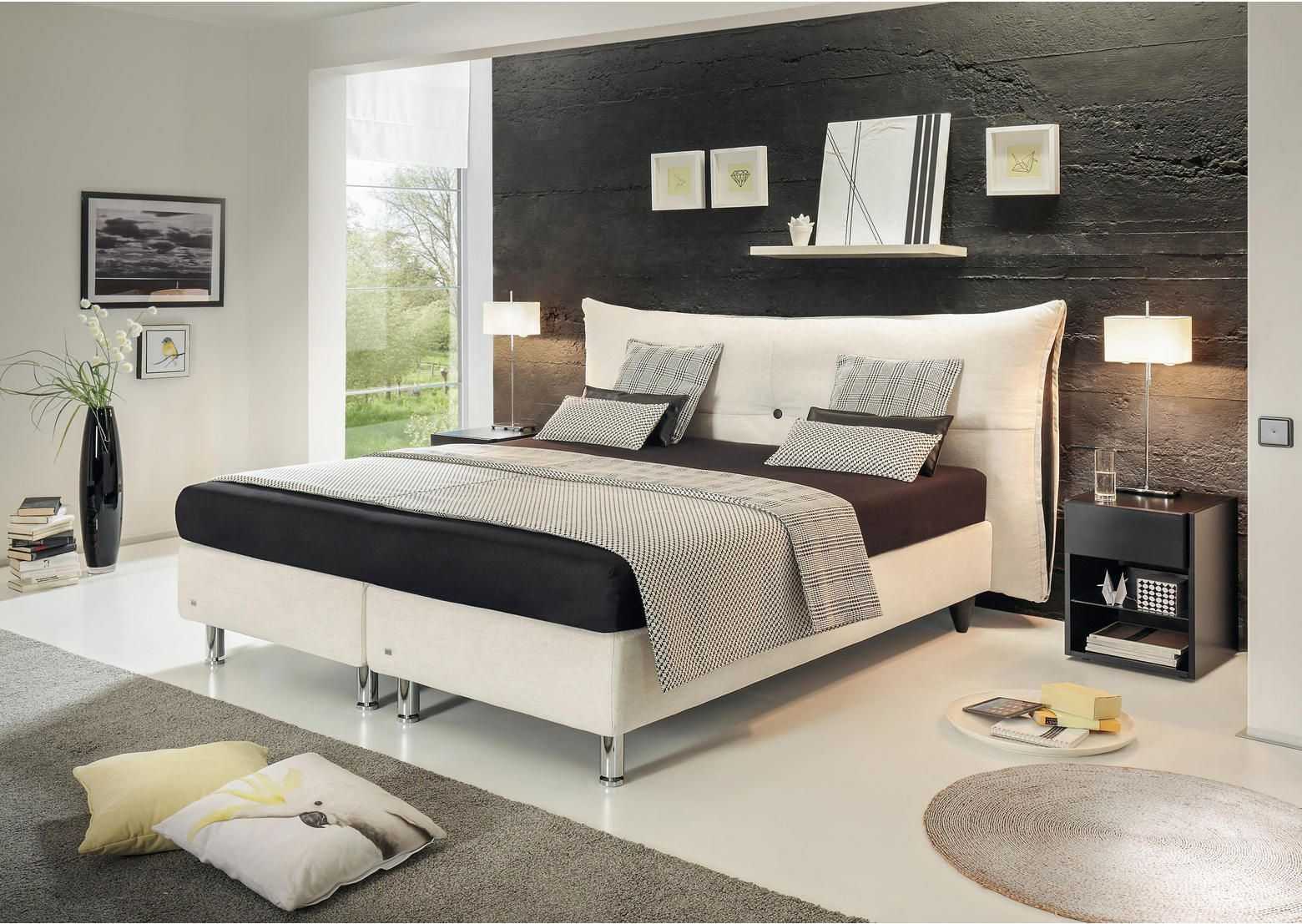 Boxspringbett 180x200 Textil Weiss Bett Haus Ruf Betten