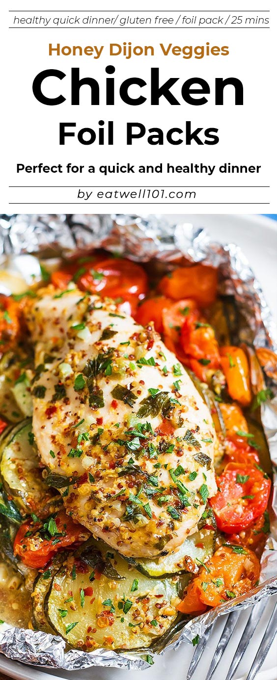Photo of Packets of chicken leaves and vegetables with honey and Dijon mustard    Foil P