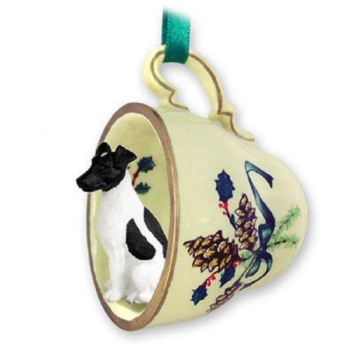 Fox Terrier Black White Pet Dog Tea Cup Green Ornament