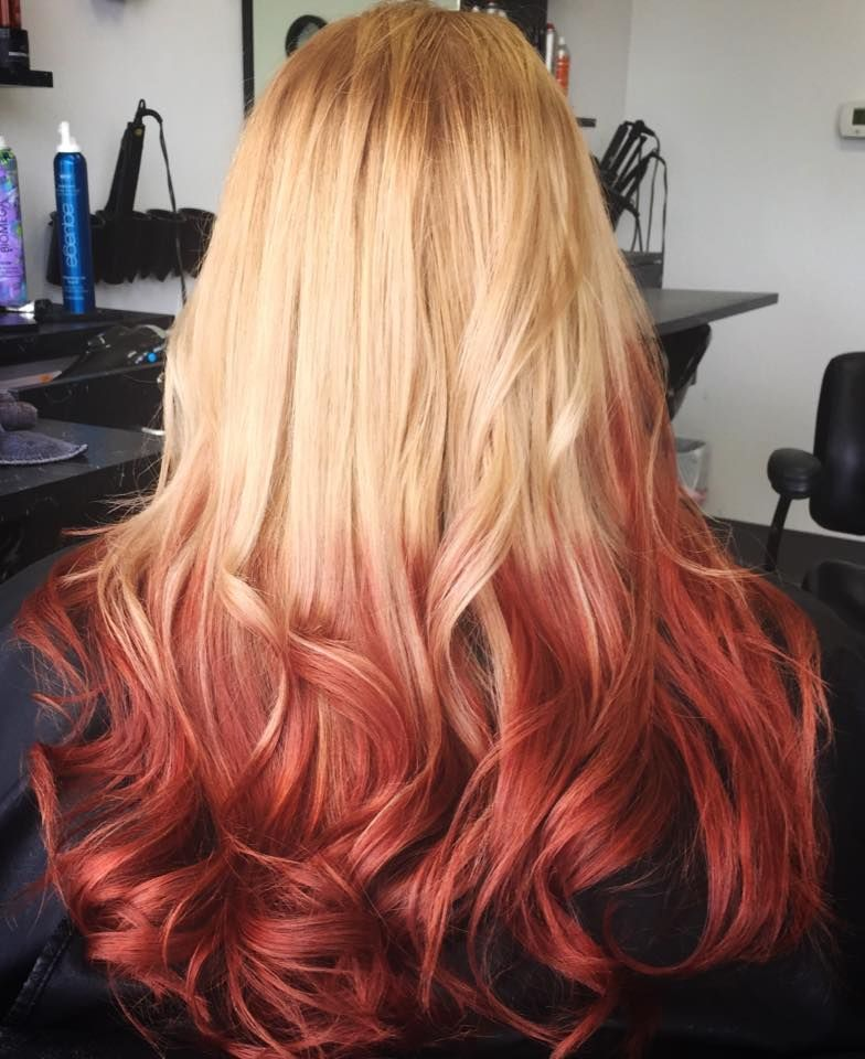 Reverse Ombre Blonde To Red Ombre Hair Blonde Red Blonde Hair Reverse Ombre Hair
